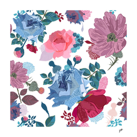 Blue and pink roses, cosmos flowers vintage style patern
