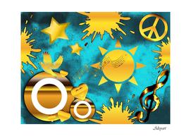 gold music clef star dove harmony
