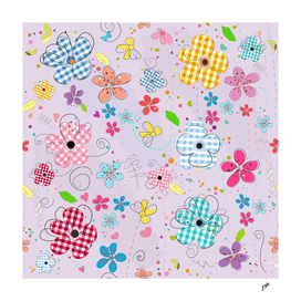 Colorful cute doodle flowers spring time flowers pattern