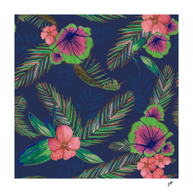 Colorful hand drawn hibiscus and palm leaves