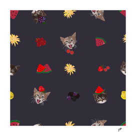 Cute cats and fruity pattern