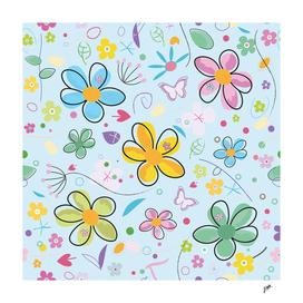 Decorative Spring Flowers Abstract Floral Art