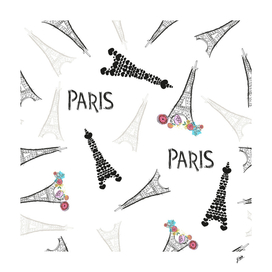 Eiffel tower hand drawn colorful flowers, Paris text