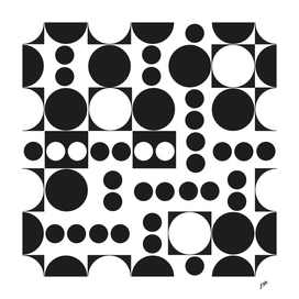 Exaggerated dots and circle black and white pattern