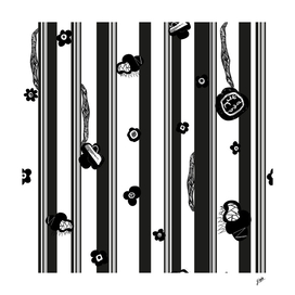 Exaggerated stripe with black abstract flowers.
