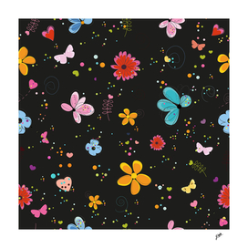 Floral spring summer time background with black