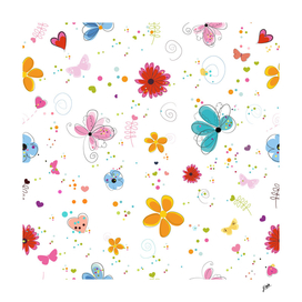Floral spring summer time background White background