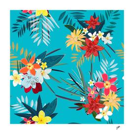 Frangipani lily palm leaves tropical vibrant colored