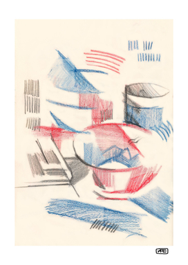 Abstract still-life with cups
