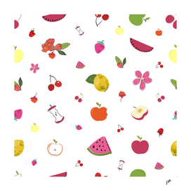 Fruity pattern with pomegranate, apple, watermelon,