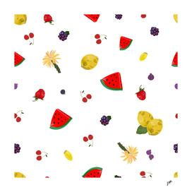 Fruity pattern with watermelon, lemon, cherry, strawberry