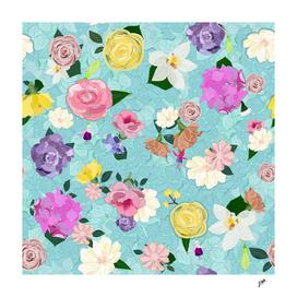 Hydrangea, vanilla, roses spring time pattern