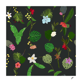 New Botanical tropic flowers and tropical leaves