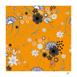 Orient express Japanese flowers elegant pattern yellow