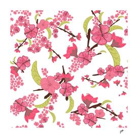 Orient express Sakura flowers pattern white background