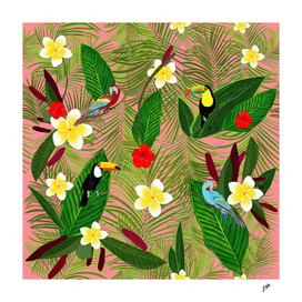 Palm leaves and frangipani hawaiian pattern