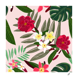 Seamless pattern for textile design. Red tropical flowers