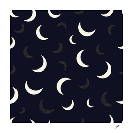 Shining golden and white colored moon night life pattern