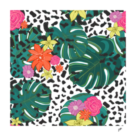 Shining leopard detailed colorful happy tropical flower