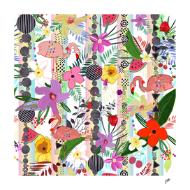 Tropical flower, flamingo and egzotic flowers pattern