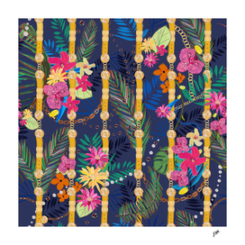 Tropical flowers golden belt and chain vibrant colore