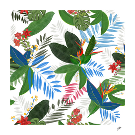 Tropical leaves pomegranate, heaven bird flowers pattern