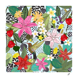 Tropical pattern with humming bird, strawberry