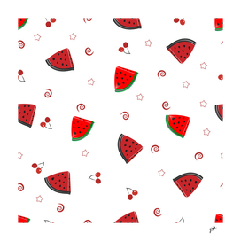 Watermelon slices and cherries cute fruity pattern
