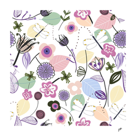 Abstract flowers and dragonfly pastel colored floral
