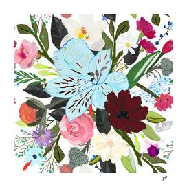 Alstromerieas, fucisia, roses, vanilla, cosmos flower