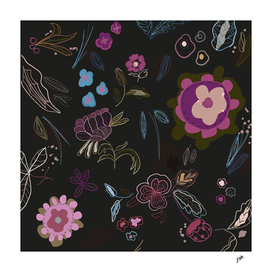 Black background with abstract flowers.