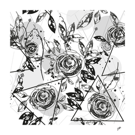 Black white rose silhouette and geometric shapes