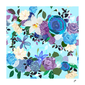 Blue and purple colored roses.  Vanilla and abstract