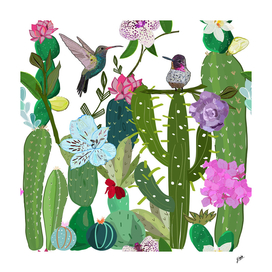 Cactus, succulents and humming bird Tropical pattern