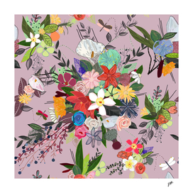 Colorful flora pattern with pink background