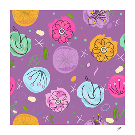 Decorative colorful abstract flowers pattern purple