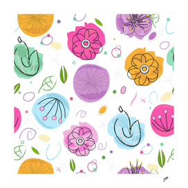 Decorative colorful abstract flowers pattern white