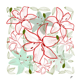 Exotic lilly red and green lilly pattern