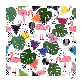 Flamingos with geometric shapes and leaves tropic patern