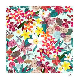 Frangipani tropical colorful floral pattern luminous