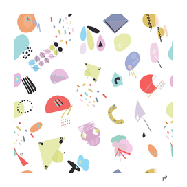 Geometric shapes and pastel colored trendy pattern