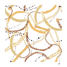 Golden belt, ropes and chains trendy pattern