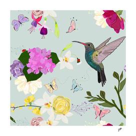 Hummingbird and flowers. Hydrangea, vanilla, fucisia