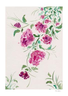 Purple Peonies Watercolor