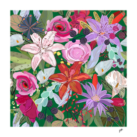 Lily and colorful flowers pattern