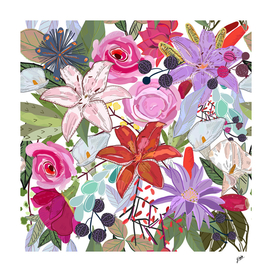 Lily and colorful flowers pattern white background