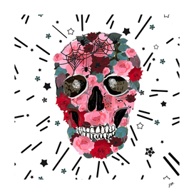 Made of skull with roses and spider pattern