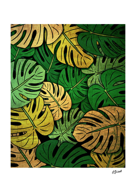 Grunge Monstera Leaves