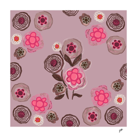Pink flowers with pink background. Abstract floral patern