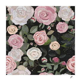 Peony and rose pattern black background